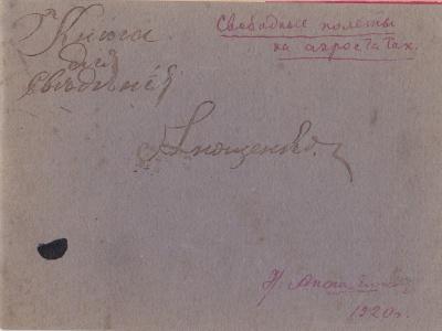 Дневник свободных полётов на аэростатах Н.Д. Анощенко. 1920 г.